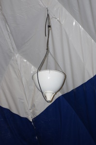 The first hang light installed in the North Bubble