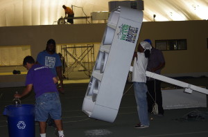 Taking down the center light pole between Courts 1 and 2